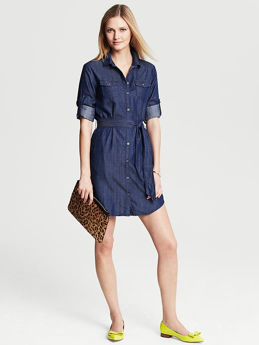 Chambray Shirtdress. Available in Petite. Dark Chambray, Light Chambray. Banana Republic. $110.