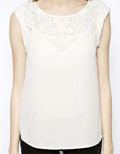 New Look Petite Crochet yoke blouse. ASOS. $33.85.