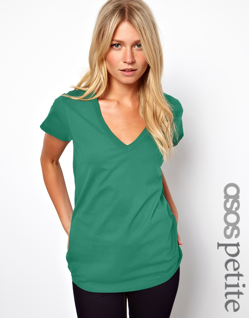 ASOS Petite T-shirt with V neck. Available in black, white, sea green. $18.81.
