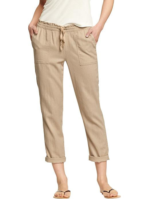 Linen blend pants. Available in Thyme is Up, A Stone's Throw and White. Old Navy. $29.94. White is marked down to $25.