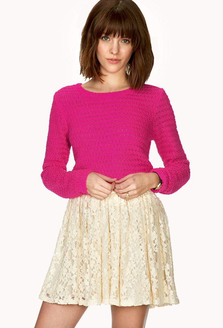 Easy cropped sweater. Available in fuchsia, pink, aqua. Forever 21. $17.80.