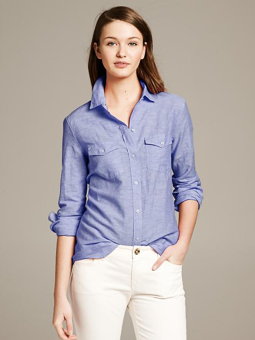 Petite Soft Wash Utility shirt. Available blue, white. Banana Republic. $64.50. Hold out for a 40% off sale:)
