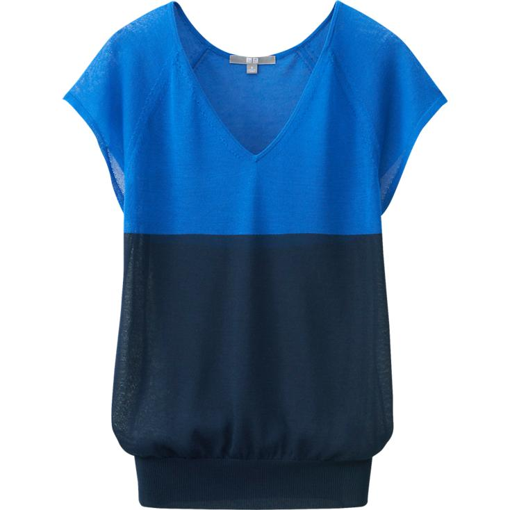 Uniqlo Light V Neck Short sleeve sweater. Available in blue, brown, off white. Uniqlo. $29.90.
