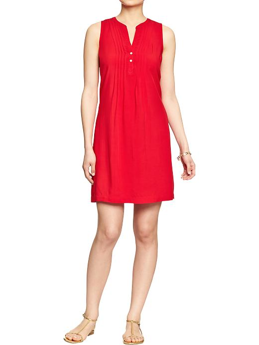 Sleeveless Dress. Available in red, royal blue, navy blue print. Old Navy. WAs: $29.94 Now: $29.