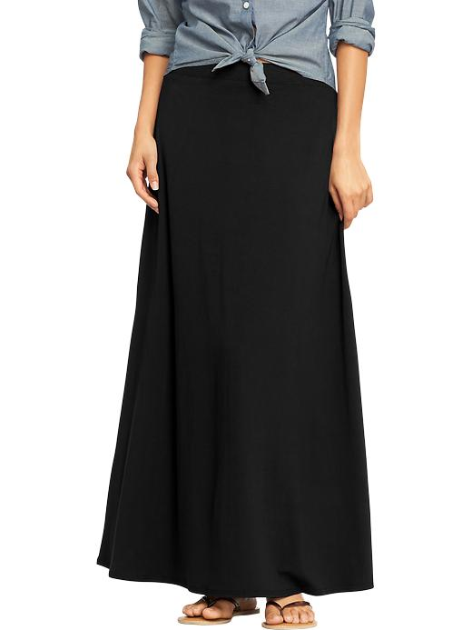 Jersey Maxi skirt. Available in multiple colors. Love the bright blue, red or black for you. Old Navy. $34.94.