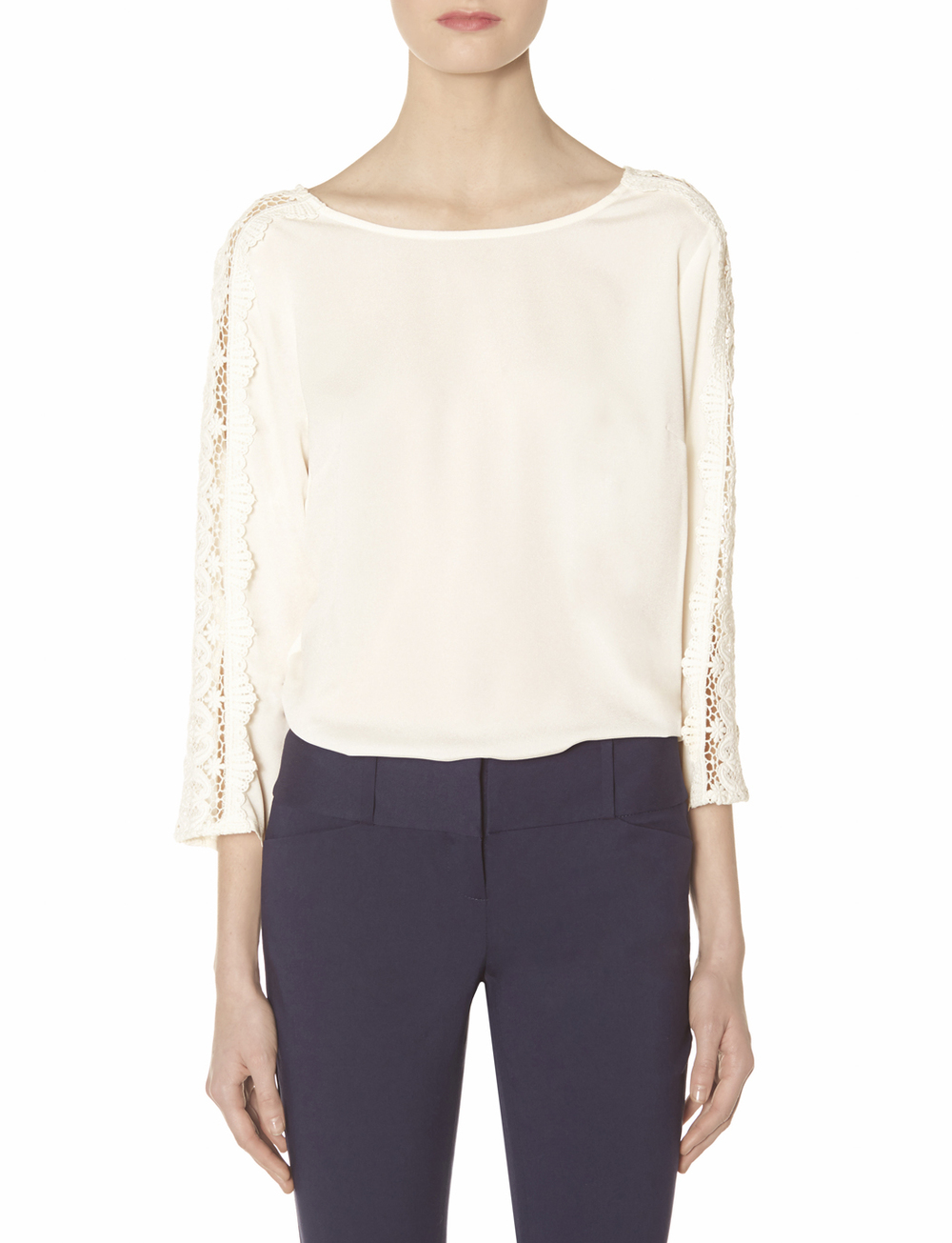 Lace sleeve blouse. Available in navy, white. Was: $59.95 Now: $35.97.