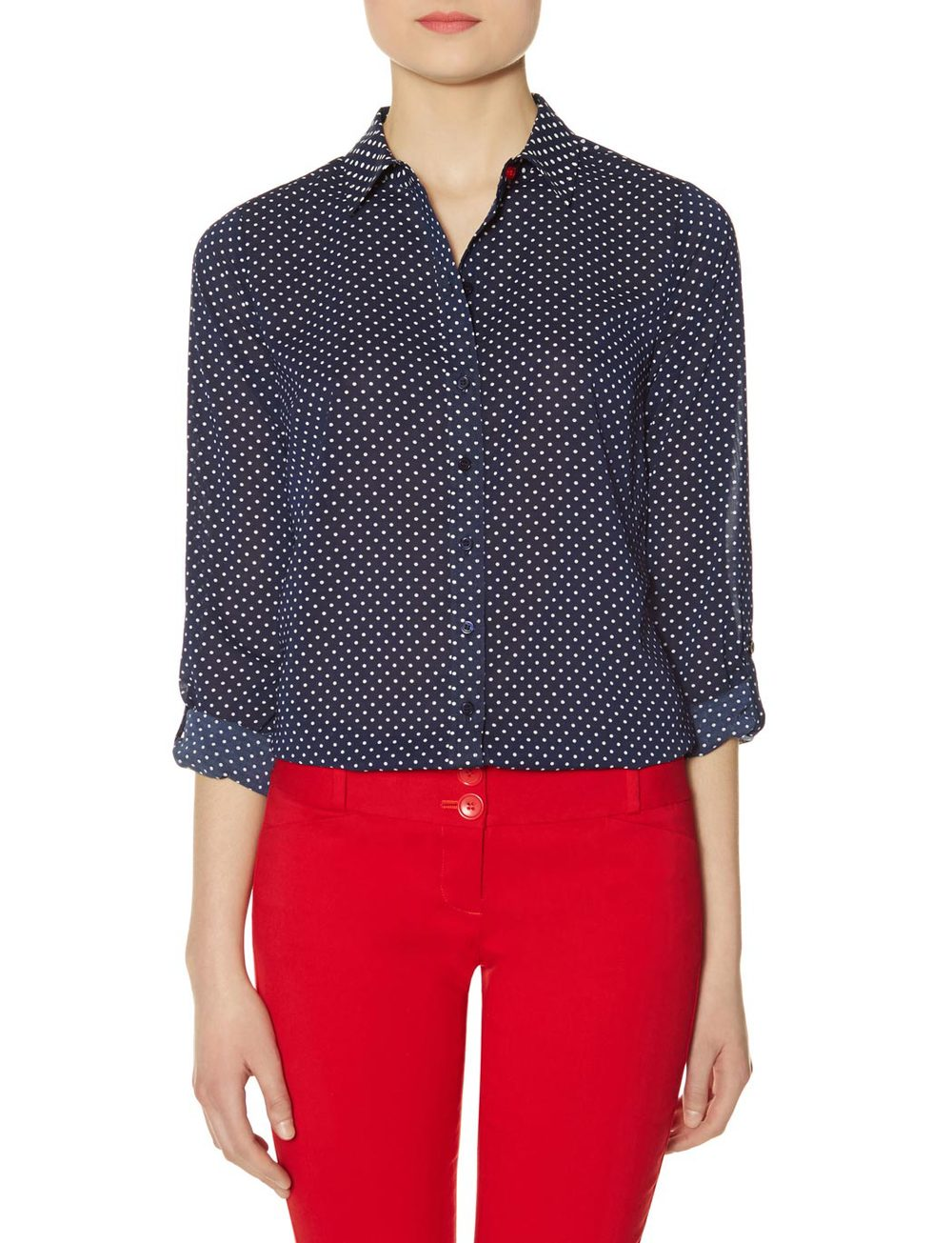 Contrast button polka dot shirt. The Limited. Was: $49.95 Now: $29.97.