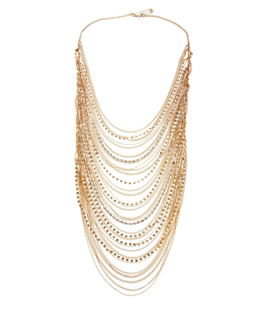 Love Rocks Multirow chain and rhinestone necklace. ASOS. $112.88.