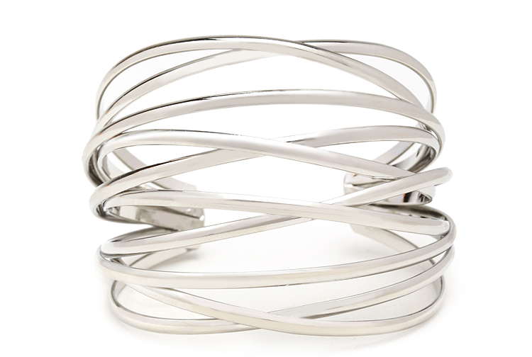Orbital Crisscross cuff bracelet. Available in silver, gold. Forever 21. $5.80.