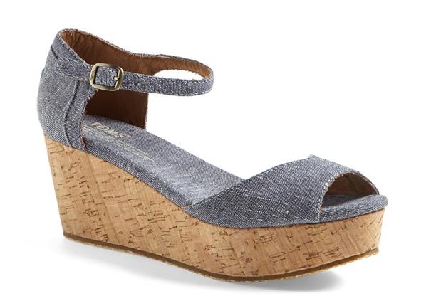 TOMS Platform Wedge sandal. Suede version also comes in taupe or black. Nordstrom. $68.95.