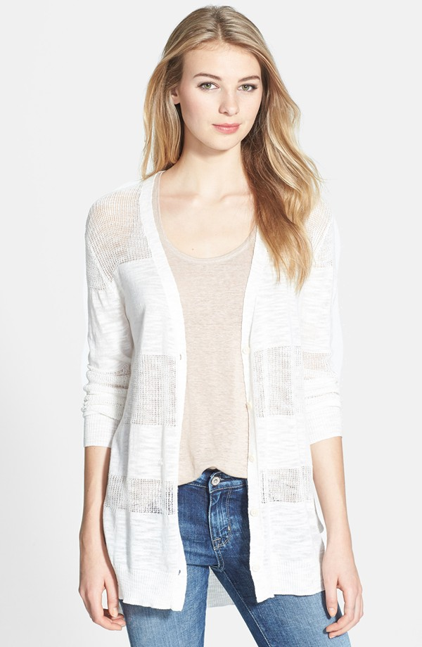 Vince Camuto Stripe mixed stitch cardigan. Regular and petite. Nordstrom. $89.