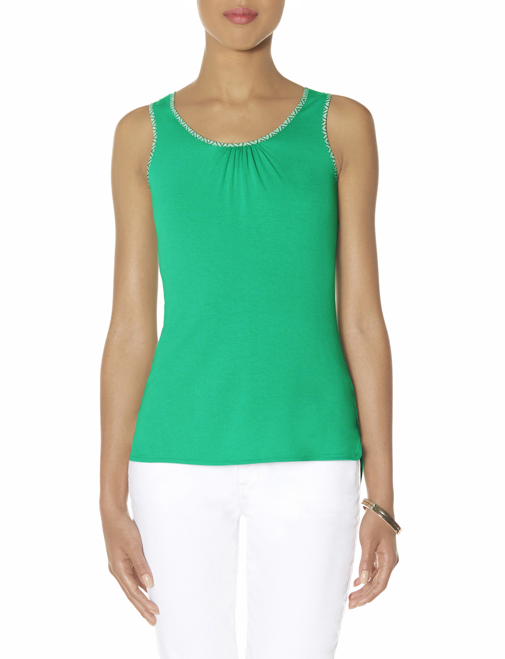 Trimmed High low tank. Available in green, peach, grey. Was: $24.95. Today: $14.97.
