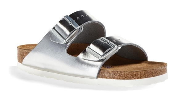 Birkenstock Arizona Soft Footbed leather sandal. Available in silver metallic, gold metallic. (Mine are black patent leather). Nordstrom. $129.95.