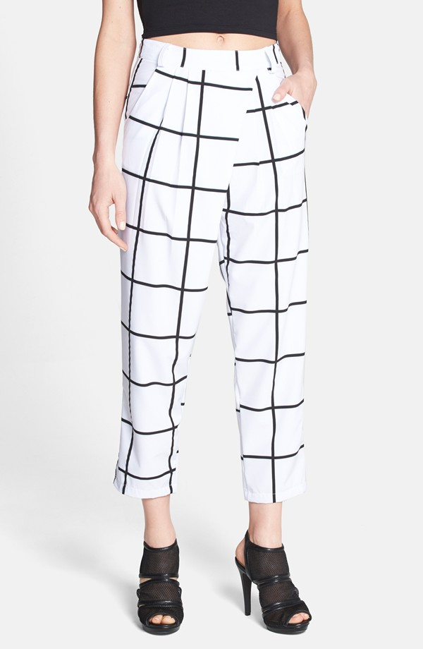 Rules of Etiquette Grid pattern wrap detail crop pants. Nordstrom. $58.