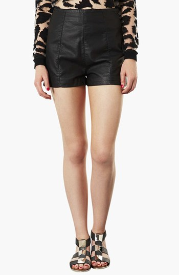Topshop Lola High Waist faux leather shorts. Nordstrom. $60.