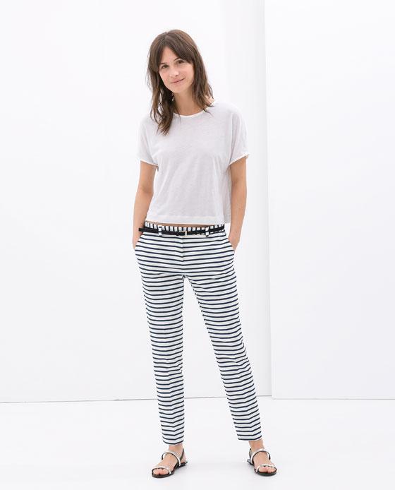 Striped trousers with belt. Zara. $59.90.