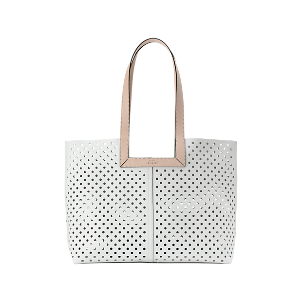 Kate Spade Square down perf tote. Available in white, black. Saturday.com. $170.