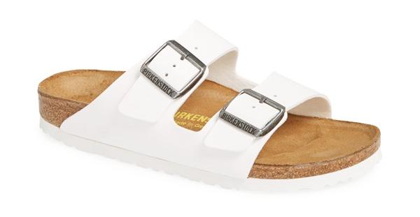 Birkenstock Arizona White faux leather sandal. Nordstrom. $89.95.