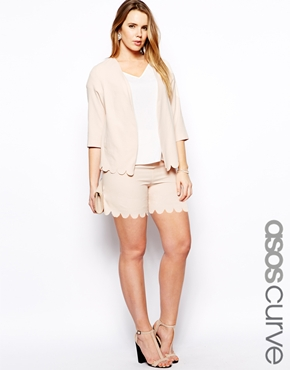 Soft Blazer and Short with Scallop hem. Available in plus sizes. Asos.com. Shorts $47.64. Blazer $66.69.