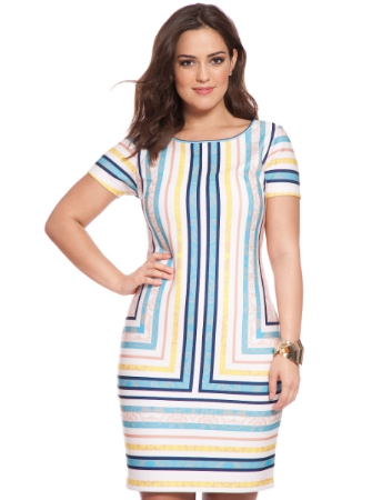 Place Lace Striped Sheath Dress.Available in plus sizes.  Eloquii.com. $98.