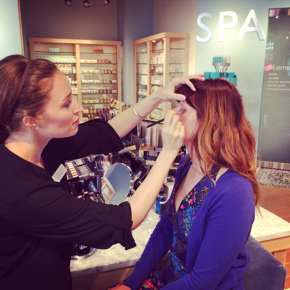 U Village Bluemercury Laura Mercier expert Roxanne transforming me. I'll be back there tomorrow for another makeover and more Laura Mercier product.