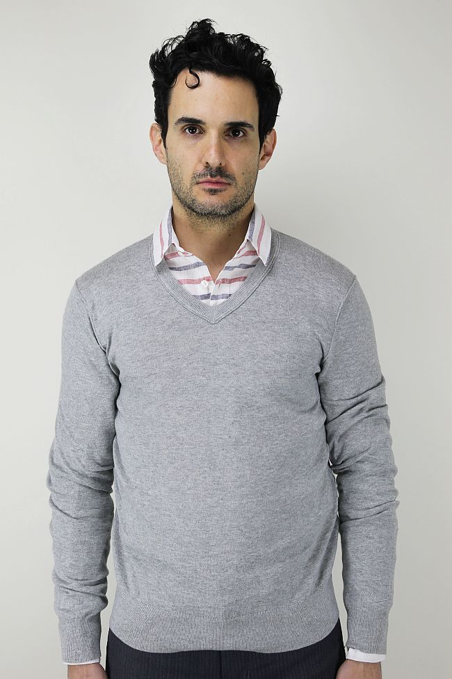Woolrich John Rich & Bros. Pier V-Neck sweater. Ian. Was: $195. Now: $89.