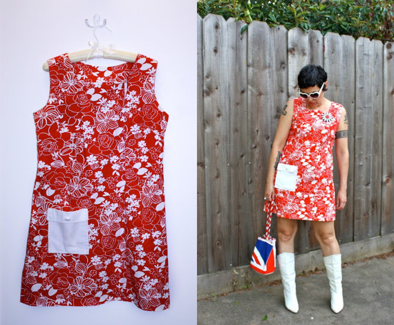 Vintage MOD Red and white mini dress by Fritzi California. thecitizenrosebud. $54.