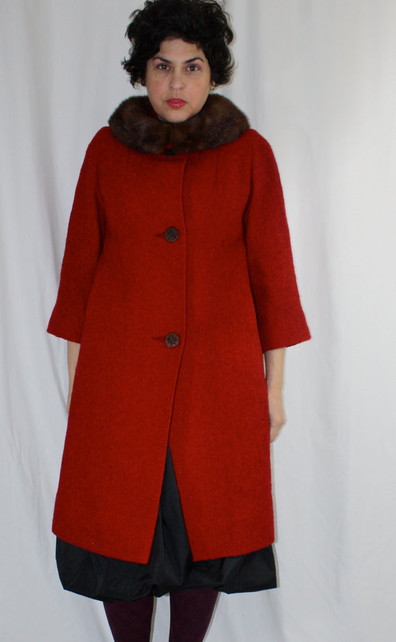 Vintage 1950's Cherry red boucle coat with brown mink collar. thecitizenrosebud. $119. It's XL or I'd already own it.