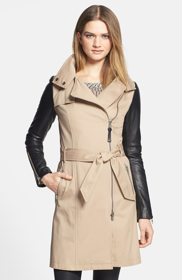 Mackage leather sleeve asymmetrical trench coat. Nordstrom. Was: $595 Now: $356.98.