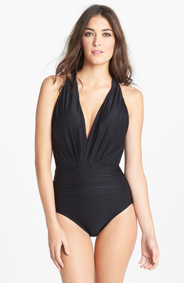 Badgley Mischka dip back maillot swimsuit. Available in black, blue. Nordstrom. $114.