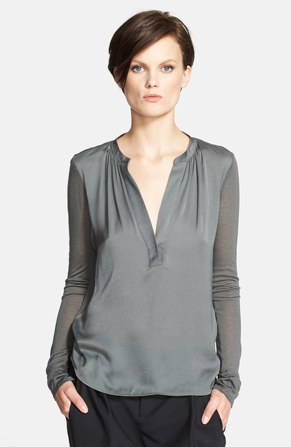 Vince Jersey back long sleeve popover top. Available in slate, black. Nordstrom. $245.