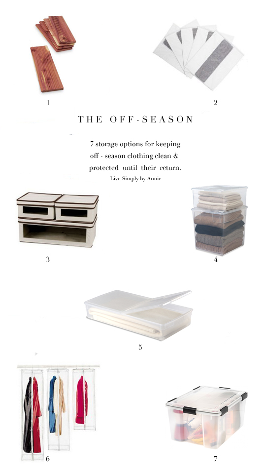 1. Cedar Drawer liners 2.  Lavender folding boards readers can use the code AnnieT10 for 10% off 3. Canvas Storage box 4. Sweater boxes 5. Long underbed box with wheels 6. Hanging storage bags 7.  Watertight tote
