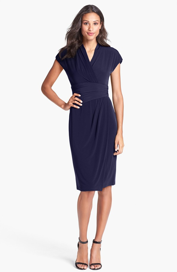 Ivy & Blu ruches faux wrap dress. Available in imperial blue, navy, purple. Nordstrom. $98.