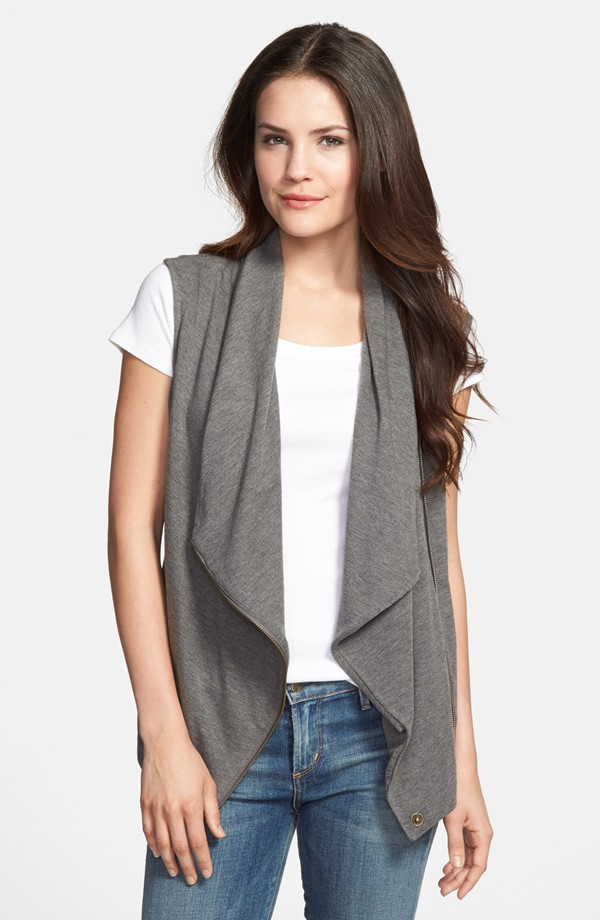 Halogen Drape front knit vest. Available in medium heather grey, black, olive. Nordstrom. $58.