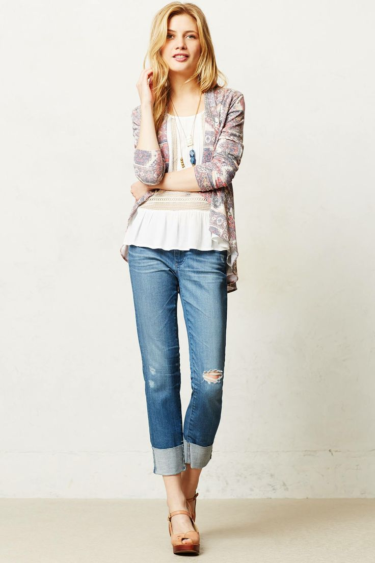 AG Stevie Cuffed jeans. Anthropologie. $188. Distressed denim is ideal with the white Opening Ceremony platform clogs.