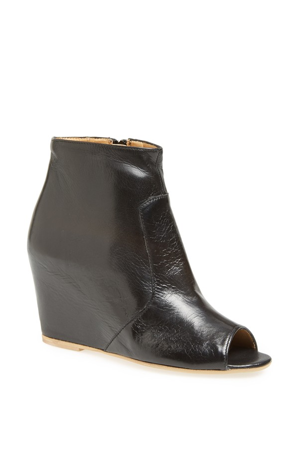 Paola Ferri Open Toe Ankle boot. Available in nude, black. Both are great for you. Very soft leather that looks much more expensive than it is. Comfortable, as well. Nordstrom. $129.95.