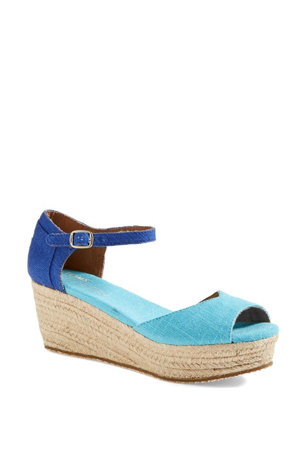 TOMS Platform wedge sandal. Available in blue mix, pink mix. Nordstrom. $68.95.