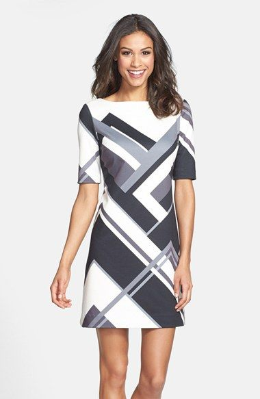 Eliza J Geo print ponte knit shift dress. Online only. Nordstrom. Anniversary price: $78.90. After sale: $118.