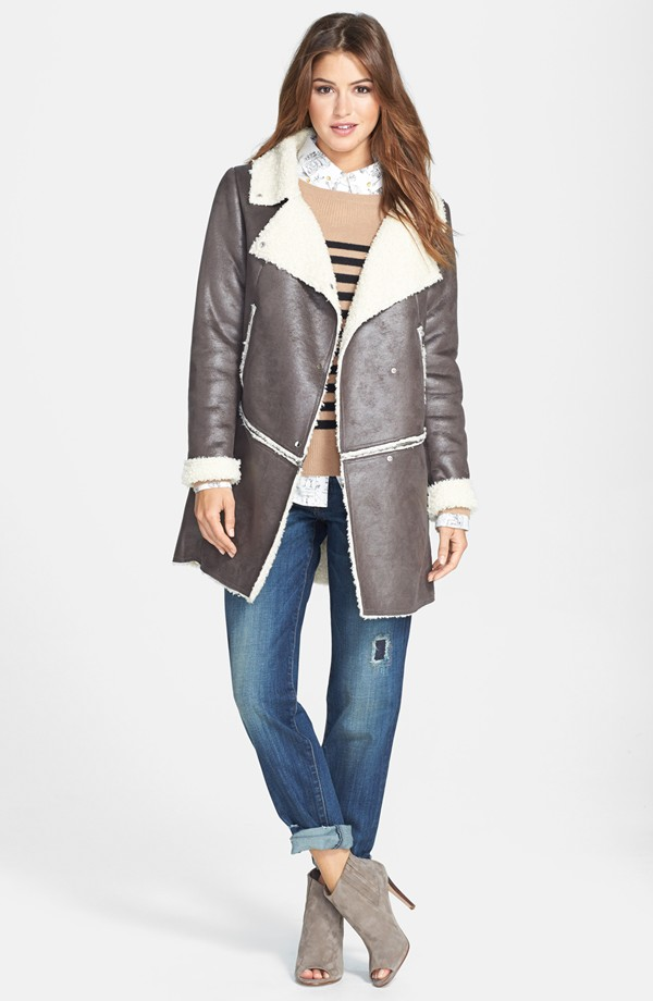 Kristen Blake Zip Off Hem Faux shearling coat. Nordstrom. Anniversary price: $119.90. After sale: $180.