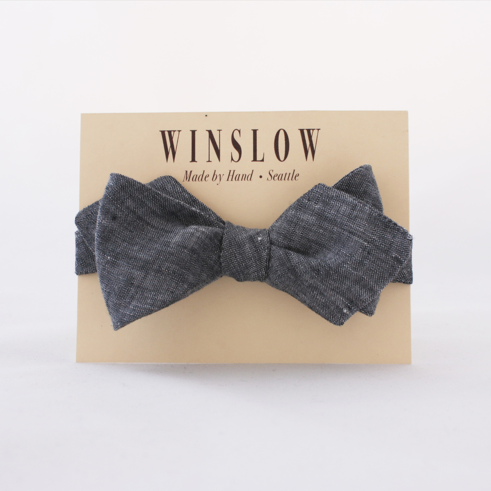 Winslow Grey Chambray Linen Bowtie. Winslow. $45.