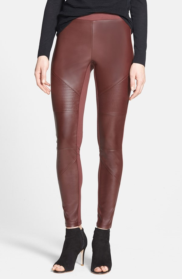 Trouve Faux leather front leggings. Available in black, brown chocolate. Nordstrom. Was: $68 Anniversary Sale: $44.90.