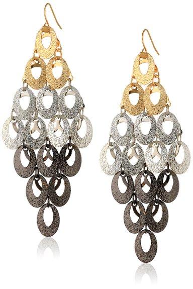 Steve Madden Mixed Metallica Tri Tone Glitter Oval chandelier drop earrings. Amazon. $24.