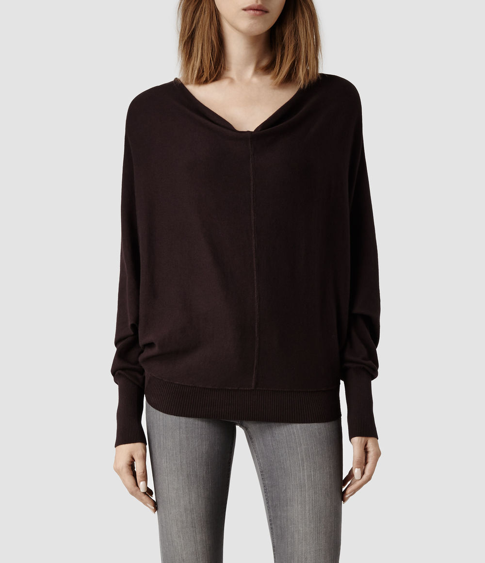 Elgar Cowl Neck Sweater. Available in deep burgundy, fawn, mist marl, grey marl, black, charcoal. All Saints. $138.