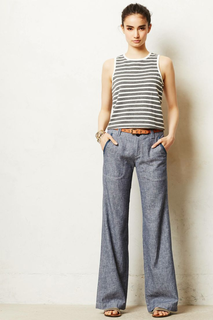 Pilcro Linen Wide Leg Trousers. Available in navy, white, gold, green, orange. Anthropologie. $88.