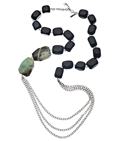 K Amato Silver and Blue Goldstone Amazonite necklace. Max and Chloe. $88.