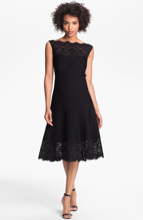 Tadashi Shoji Lace Trim Pintuck Jersey Fit and Flare Dress. Available in blue, purple, black. Nordstrom. $348.