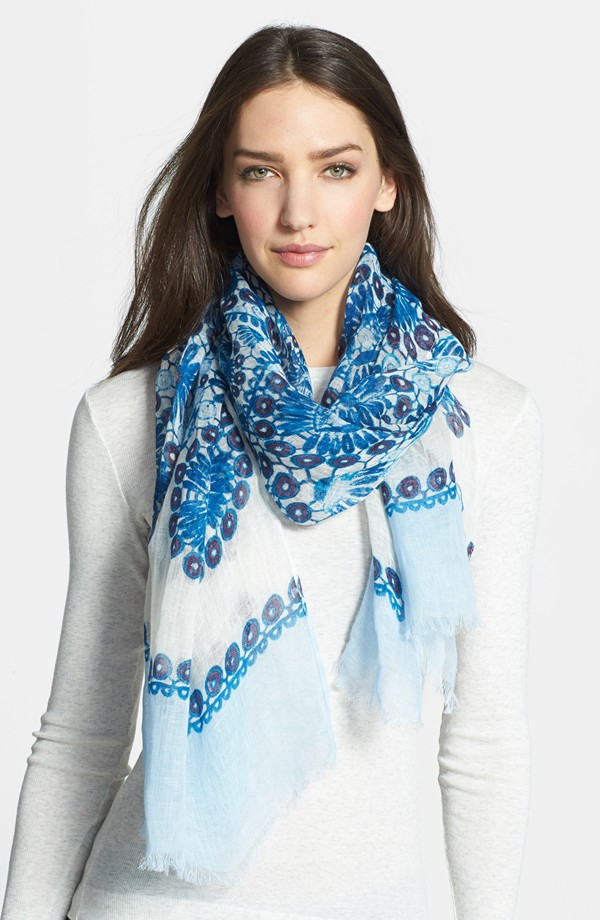 Tory Burch Printed Crochet Linen Scarf. Nordstrom. Was: $155 Now: $103.