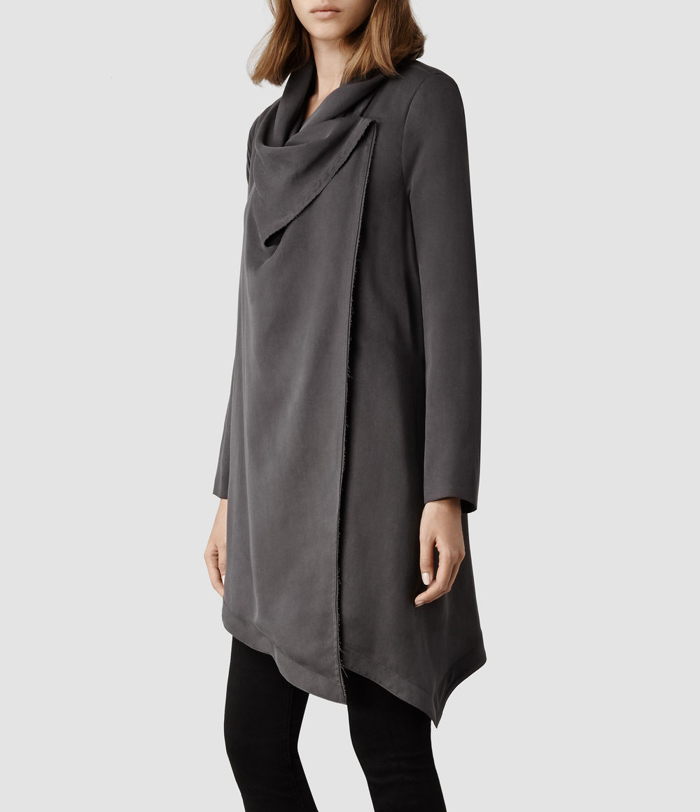 Hoxton Monument Coat. Available in grey, black, taupe. All Saints. $468.