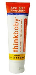 Thinkbaby Sunscreen SPF 50+ benefitting LIVESTRONG. Amazon. $13.19.