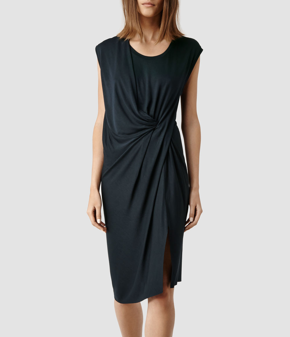 Leena Vi Dress. Available in petrol, stone. All Saints. $178.